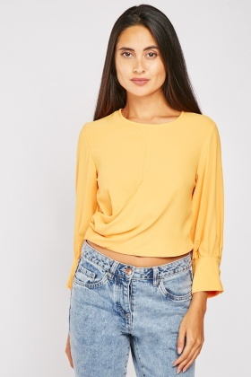 Draped Side Crop Blouse