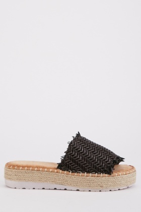Weaved Platform Espadrille Slides
