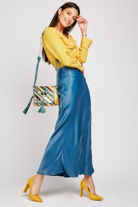 Sateen Maxi Teal Skirt