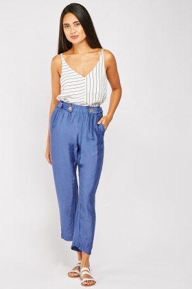 Decorative Button Waist Tapered Trousers