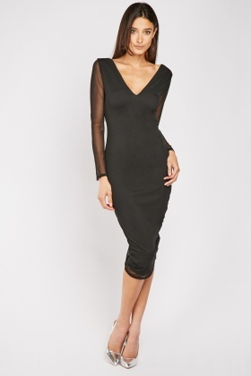 Ruched Black Bodycon Dress