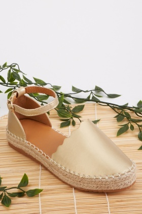 Scallop Trim Faux Leather Espadrilles
