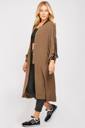 Baseball Collar Long Coat