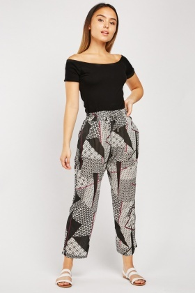 Printed High Waist Trousers