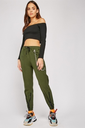 O-Ring Zipper Hem Cargo Trousers