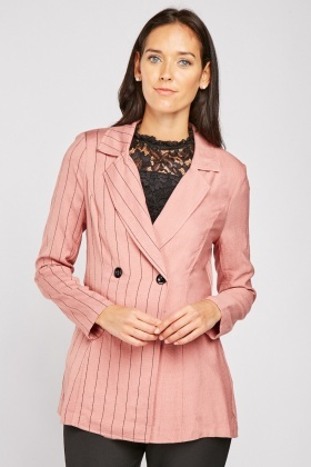 Pinstriped Textured Blazer
