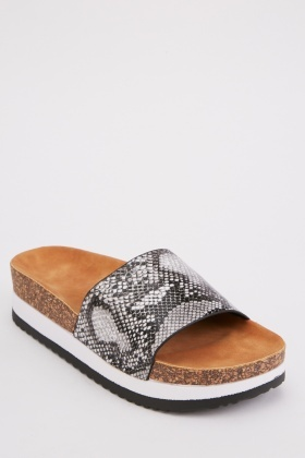 Snake Print Chunky Sandals