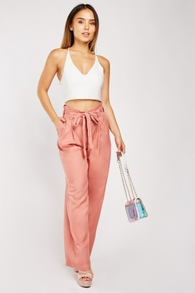 Wide Leg Tie Up Waist Trousers