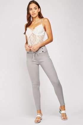 High Waist Lace Up Treggings