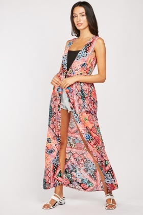 Tie Up Tassel Front Maxi Cover Up