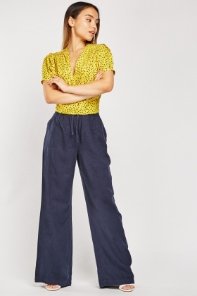 Wide Leg Linen Blend Trousers
