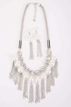 Contrasted Tassel Necklace And Earrings Set