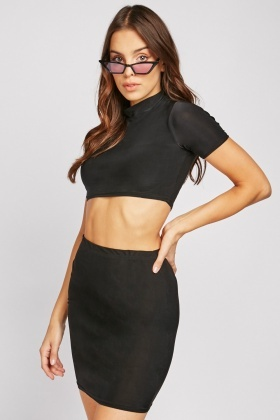 Basic Crop Top And Skirt Co Ord Set