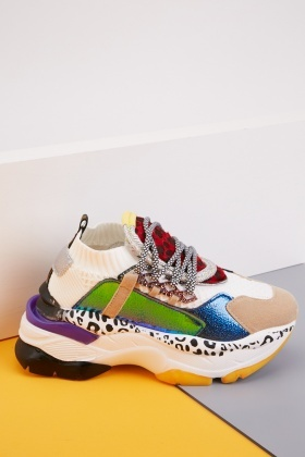Colour Block Contrast Chunky Trainers