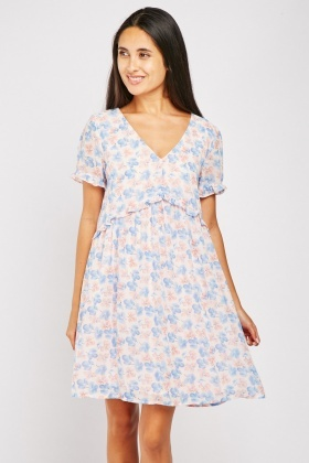 Floral Print Sheer Chiffon Smock Dress