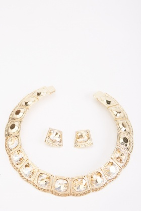 Large Diamante Encrusted Necklace And Earrings Set