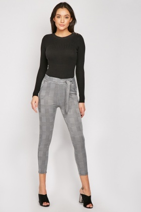 Belted Glen Check Skinny Trousers