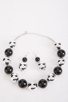 Two Tone Necklace And Earrings Set