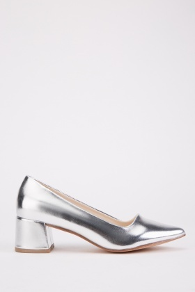 Metallic Low Court Heels