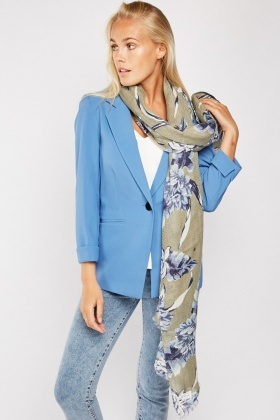 Large Floral Print Scarf