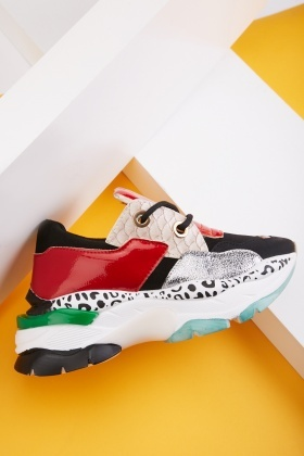Overlapped Colour Block Contrast Trainers