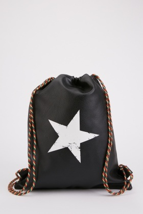 Star Print Drawstring Backpack