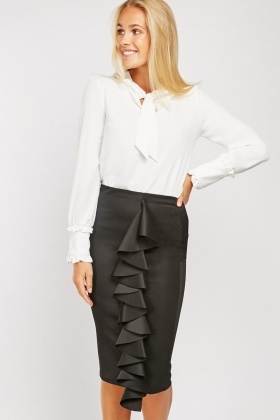 Ruffle Panel Front Pencil Skirt