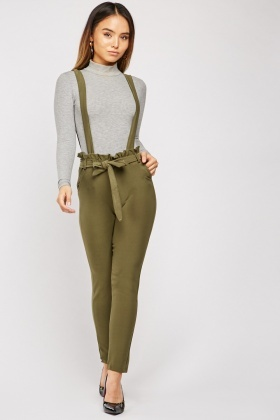 Braces Attached Skinny Paperbag Trousers