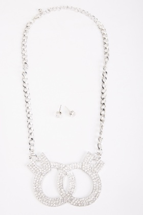 Diamante Encrusted Chain Strap Necklace And Earrings Set