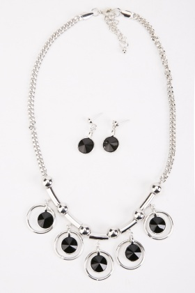 Encrusted Hoop Necklace And Earrings Set