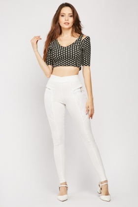 Lace Insert Skinny Trousers