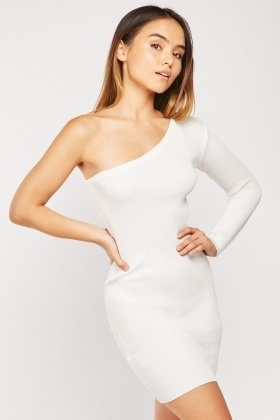 One Shoulder Ribbed Bodycon Dress
