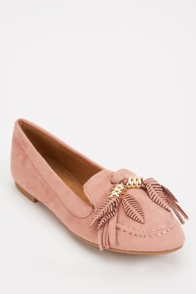 Suedette Feather Detail Loafers $6.70