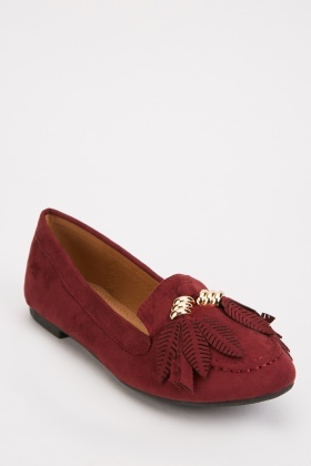 Suedette Feather Detail Loafers