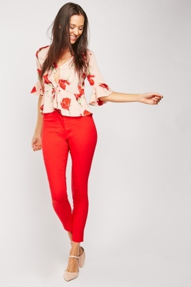 Red Skinny Trousers $6.70