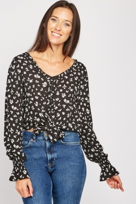 Ruffle Panel Front Floral Blouse $6.70