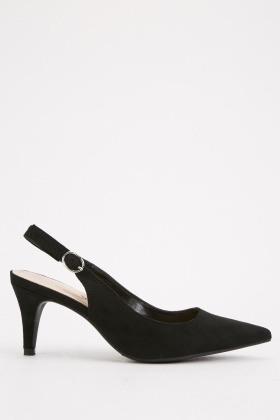 Slingback Buckle Side Court Heels