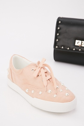 Faux Pearl Encrusted Trainers