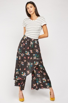 Floral Wrap-Over Culottes
