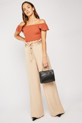 Wide Leg Paper-Bag Waist Trousers