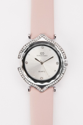 Faux Leather Strap Encrusted Watch