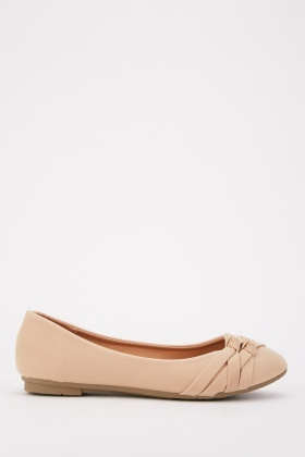 Textured Front Detail Ballet Pumps
