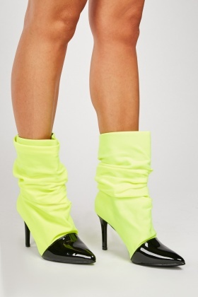 PVC Front Slouchy Ankle Boots