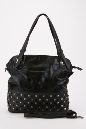 Contrasted Studded Tote Bag