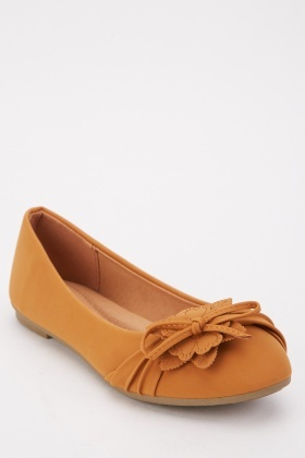 Flower Detail Bow Front Ballet Pumps