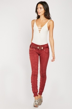 Faux Leather Belt Skinny Trousers