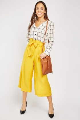 Belted Wide Leg Yellow Trousers