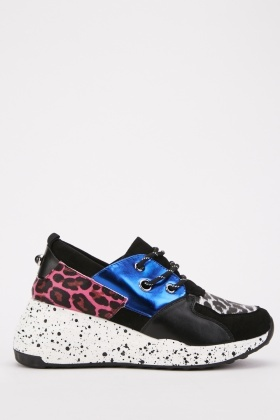 Metallic Speckled Print Trainers