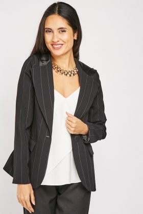 Hooded Pinstriped Blazer