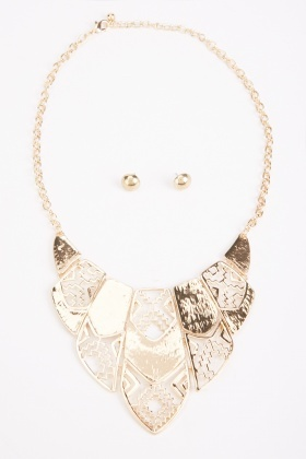 Layered Statement Necklace And Earrings Set